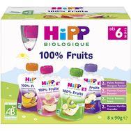 HiPP Hipp Gourde dessert aux fruits bio 4 variétés dès 6 mois 8x90g