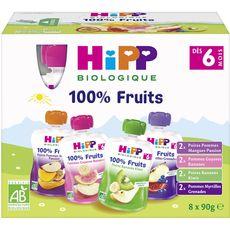 HiPP HIPP Gourde dessert aux fruits bio 4 variétés dès 6 mois