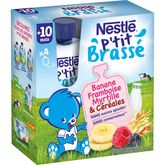 Nestlé p'tit brassé banane framboise myrtille 4x90g 10mois