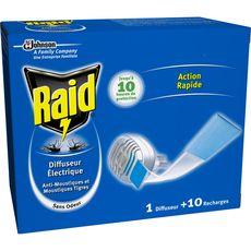 RAID Raid Diffuseur électrique anti-moustiques avec 10 recharges 10 recharges 1 diffuseur