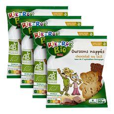 AUCHAN RIK & ROK Biscuits bio oursons nappés de chocolat au lait 4x6 biscuits 4x30g