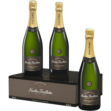 NICOLAS FEUILLATTE AOP Champagne brut coffret 3 bouteilles