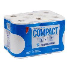 Auchan Essuie-tout blanc compact super absorbant x6