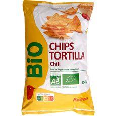 AUCHAN BIO Tortillas chips goût chili 150g