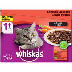 WHISKAS Sachets repas pâtée en sauce viandes pour chat 24x100g