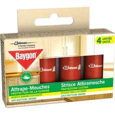 Baygon Rubans adhésifs attrape-mouches efficacité x4