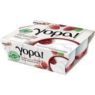 Yopa 0% sur lit de fraise 4x100g