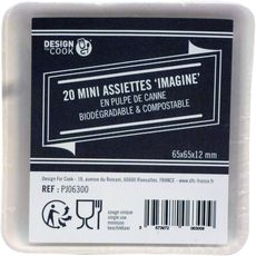 DESIGN FOR COOK Design for cook Mini assiettes blanches biodegradables x20 20 pièces