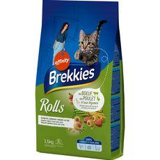 BREKKIES Rolls croquettes au boeuf poulet légumes pour chat 1,5kg