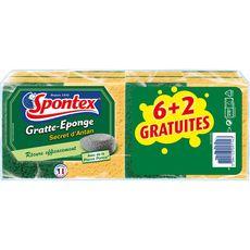 SPONTEX Spontex gratte éponge secret d'antan verte x6 +2offertes