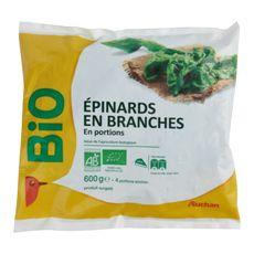 AUCHAN BIO Epinard en branches en portions 3 portions 600g
