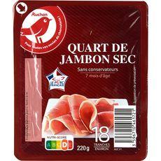AUCHAN Auchan Quart de jambon sec sans conservateur 7 mois d'âge 18 tranches 220g 18 tranches 220g