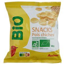 AUCHAN BIO Snacks à bas de farine de pois chiche bio 60g