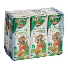 AUCHAN BIO Pur jus de pommes bio briquettes 6x20cl