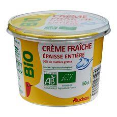AUCHAN BIO Crème fraîche épaisse entière 30 % 50cl