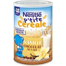 NESTLE Nestlé P'tit céréale vanille chocolat au lait en poudre dès 12 mois 400g 400g