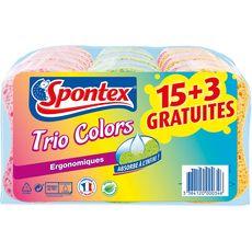SPONTEX Spontex Eponges ergonomiques colorées biodégradables x18 18 éponges