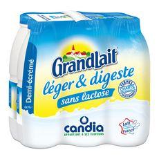 CANDIA CANDIA Grandlait lait demi-écrémé sans lactose UHT 6x1L 6x1L