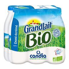 CANDIA Grandlait lait demi-écrémé bio UHT 6x1L
