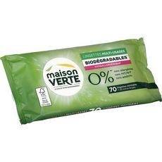 MAISON VERTE Lingettes multi-usages écologiques & biodégradables 70 lingettes