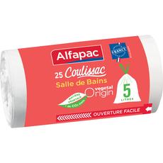 Alfapac Sacs poubelle végétal salle de bain liens coulissants 5l x25