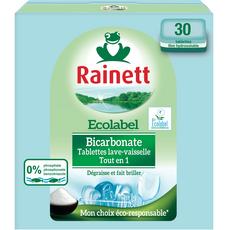 RAINETT Tablettes lave-vaisselle écologique au bicarbonate 30 lavages 30 tablettes
