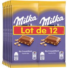 Milka MILKA Tablette de chocolat au lait riz croustillant