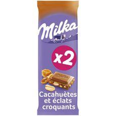 MILKA Tablette de chocolat cacahuètes caramel et éclats croquants 2x90g