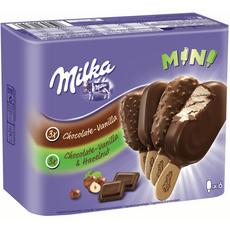 Milka Mini batônnet chocolat-vanille et chocolat-vanille-noisette 227g