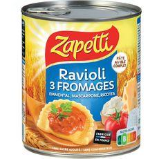 ZAPETTI Ravioli au blé complet aux 3 fromages sans sucre ajouté sans conservateur 2 personnes 800g