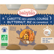 Babybio pot bio carottes potimarron riz 2x200g dès6mois