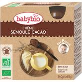 Babybio gourde bio crème cacao semoule 4x85g dès 8 mois