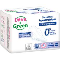 Love And Green Serviettes hygiéniques écologiques avec ailettes nuit x10