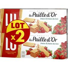 PAILLE D'OR Paille d'or Gaufrettes fourrées à la fraise et fraise des bois 2x170g 2x170g