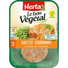 HERTA Herta le bon végétal galette lentilles et carottes x2 -160g