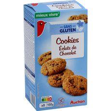 AUCHAN MIEUX VIVRE Cookies éclats de chocolat sans gluten 8 cookies 150g