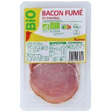 AUCHAN BIO Bacon fumé 8 pièces 80g