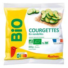 AUCHAN BIO Courgettes en rondelles 3 portions 600g