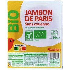 AUCHAN BIO Auchan bio Jambon de Paris bio sans couenne 2 tranches 80g 2 tranches 80g
