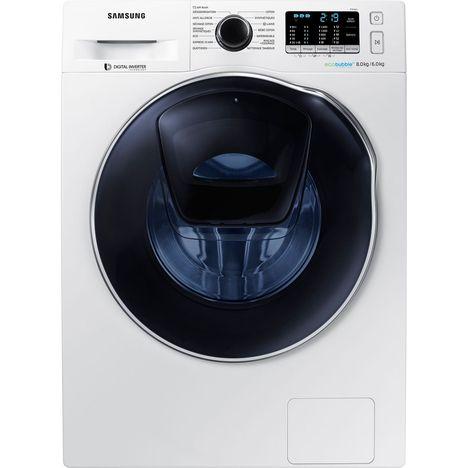 SAMSUNG Lave-linge séchant hublot WD80K5B10OW, 8 Kg lavage, 6 Kg séchage, 1400 Tr/min, Add Wash