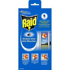 RAID Stickers fleurs vitre anti-mouches efficace 4x4 mois 4 stickers