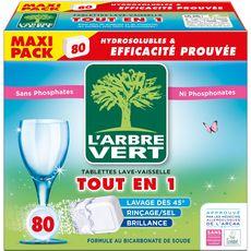 L'ARBRE VERT Tablettes lave-vaisselle écologique tout-en-1 80 lavages 80 tablettes