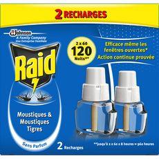 Raid Recharges diffuseur électrique anti-moustiques & moustiques-tigres x2