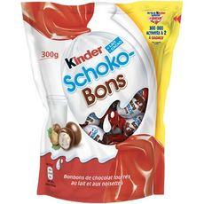 KINDER Schokobons bonbons chocolatés fourrés lait et noisettes 300g