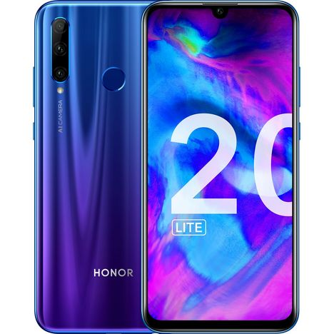 HONOR Smartphone - 20 LITE - 128 Go - Bleu - 6.21 pouces - 4G - Double Nano Sim ou MicroSD