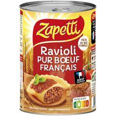 ZAPETTI Ravioli au blé complet pur bœuf français sans sucre ajouté ni conservateur 1 personne 400g
