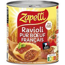 ZAPETTI Ravioli au blé complet pur bœuf sans sucre ajouté sans conservateur 2 personnes 800g