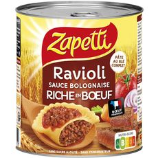 ZAPETTI Ravioli au blé complet sauce bolognaise riche en bœuf sans sucre ajouté 2 personnes 800g