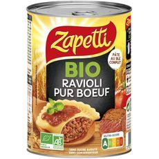 ZAPETTI Ravioli au blé complet bio pur bœuf sans sucre ajouté sans conservateur 400g