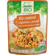 Jardin Bio Riz cuisiné légumes et poulet en poche fabriqué en France 220g